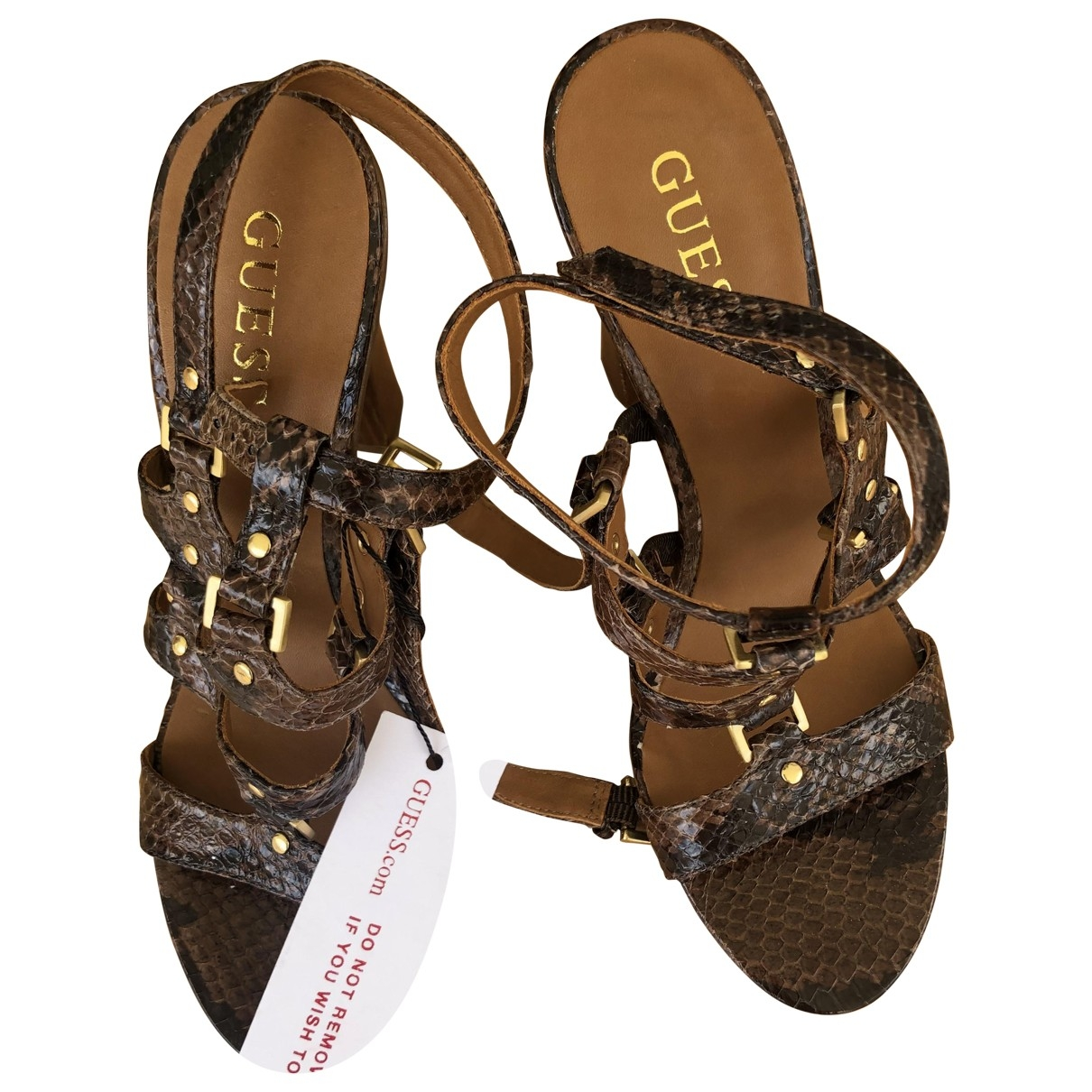 Guess \N Brown Leather Sandals for Women 37 EU