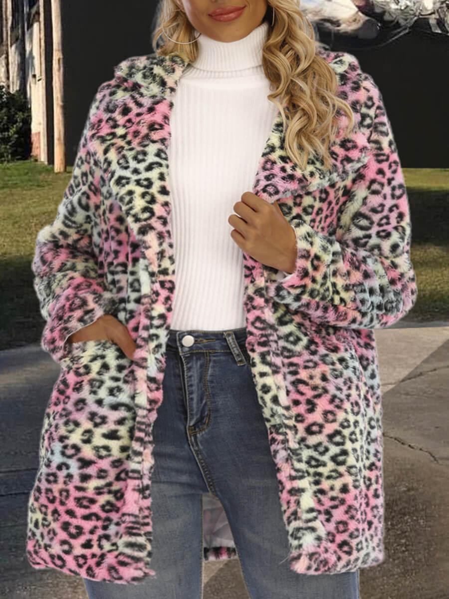 LW Lovely Trendy Turndown Collar Leopard Print Faux Fur