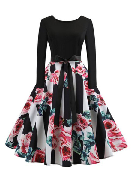 Milanoo Black Vintage Dress Long Slevee Round Neck Bows Floral Retro Dress