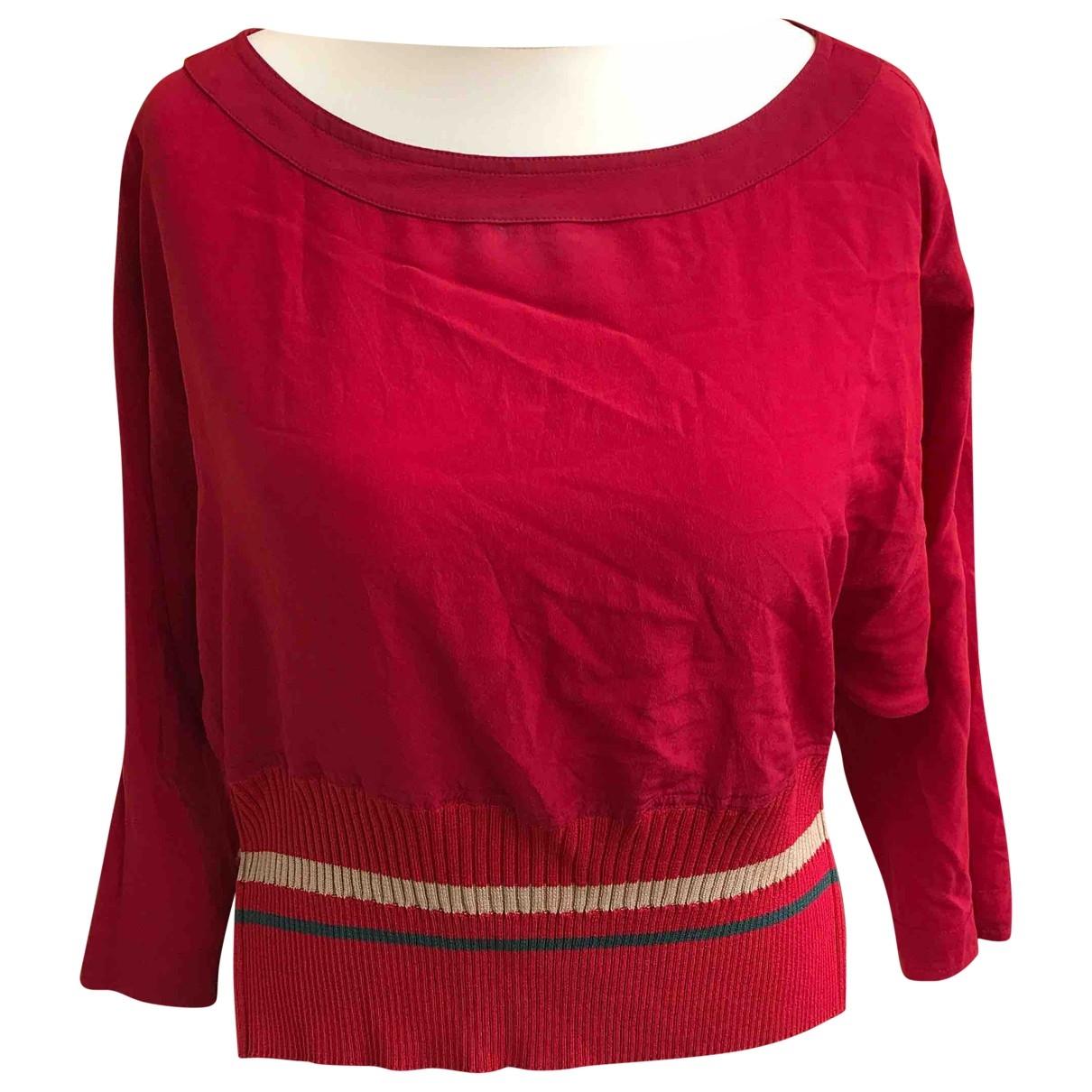 Gianni Versace - Top   pour femme en soie - rouge