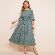 Plus Gilding Grid Print Belted A-line Dress