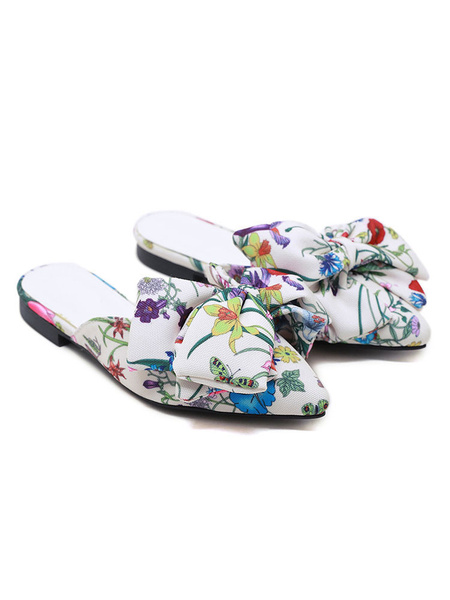 Milanoo Women Flat Mules Canvas White Pointed Toe Floral Printed Slide Shoes