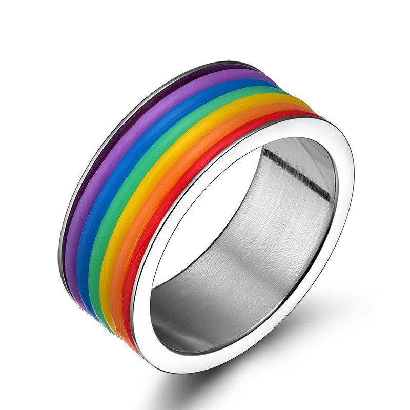 Fashion Stainless Steel Finger Rings Rainbow Silicone Rings for Women Men LGBT Band Unisex Jewelry