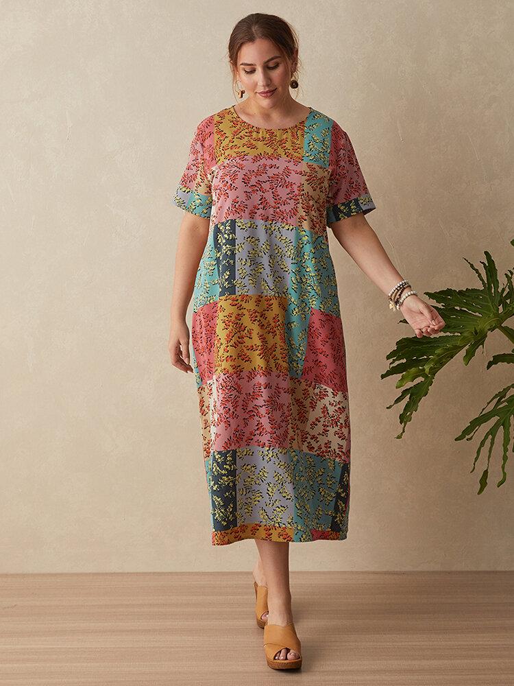 Floral Print O-neck Short Sleeve Plus Size Dress