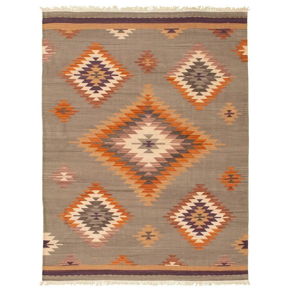 ECARPETGALLERY  Anatolian FW Grey Wool Kilim - 5'7 x 7'8 (Grey - 5'7 x 7'8)