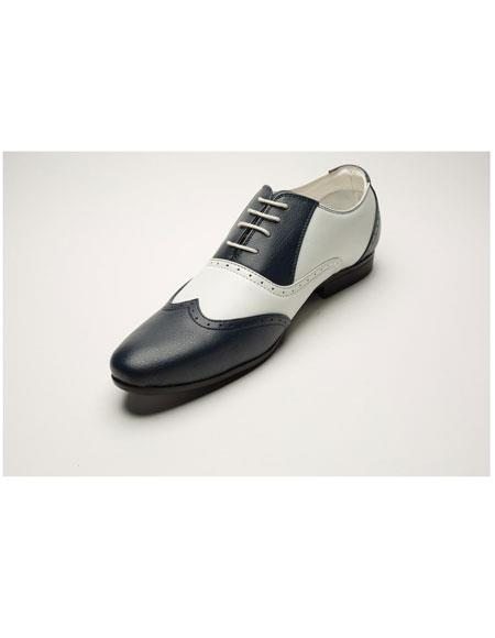 Men's Two Toned Lace Up Navy/White Casual Dress Shoes