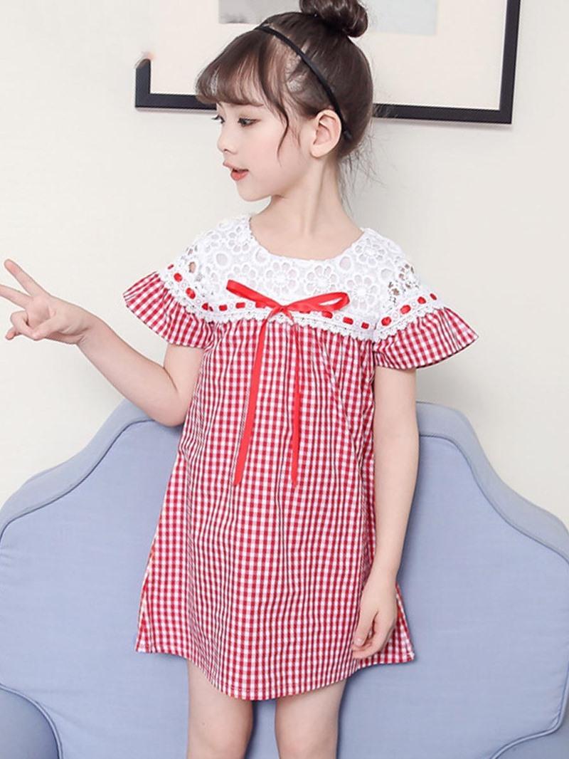 Ericdress Plaid Bowknot Patchwork Girl's A-Line Dress