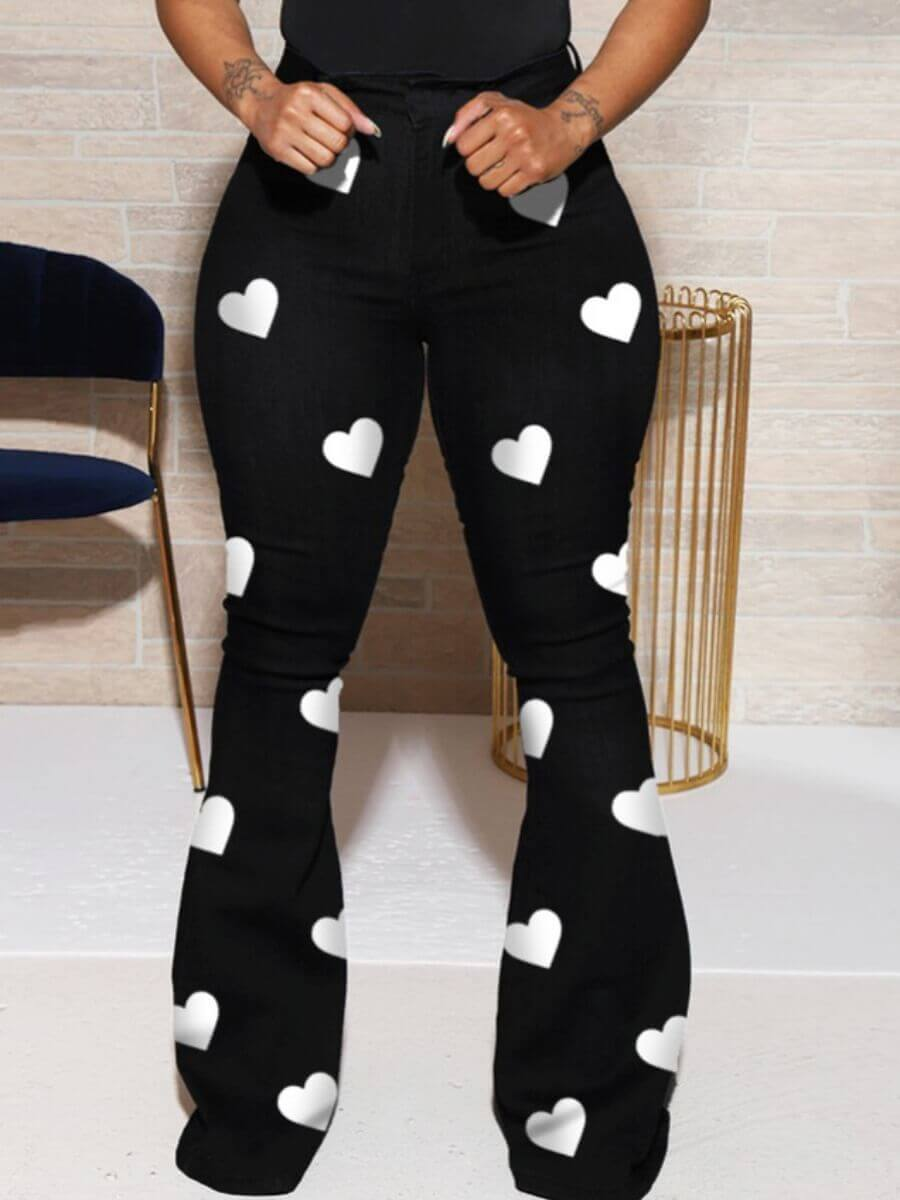 LW Lovely Trendy Heart Print Black Pants