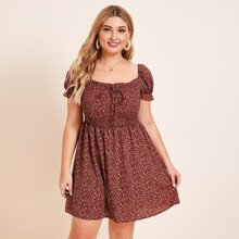 Plus Ditsy Floral Shirred Bodice Chiffon Milkmaid Dress