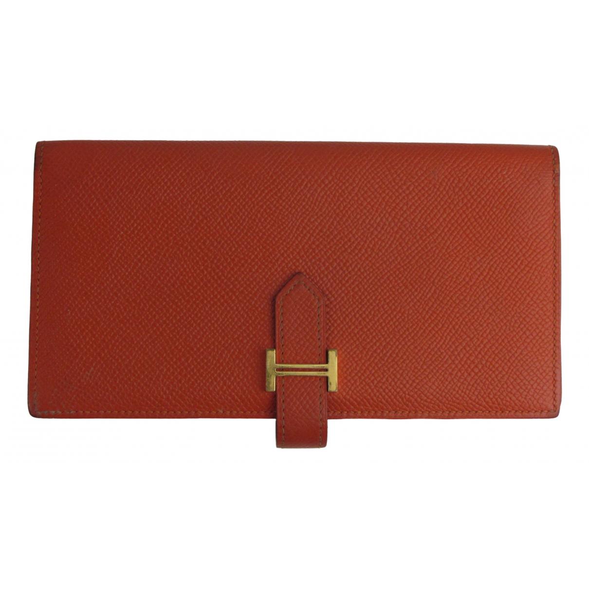 Hermes Bearn Portemonnaie in  Orange Leder