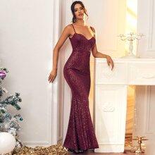 Rueckenfreies Cami Meerjungfraukleid mit Pailletten