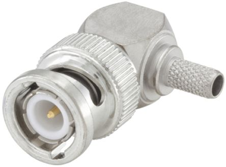 Rosenberger , BNC Right Angle 50Ω Cable Mount BNC Connector, Plug, Flash White Bronze, Crimp Termination, RG141 A/U,