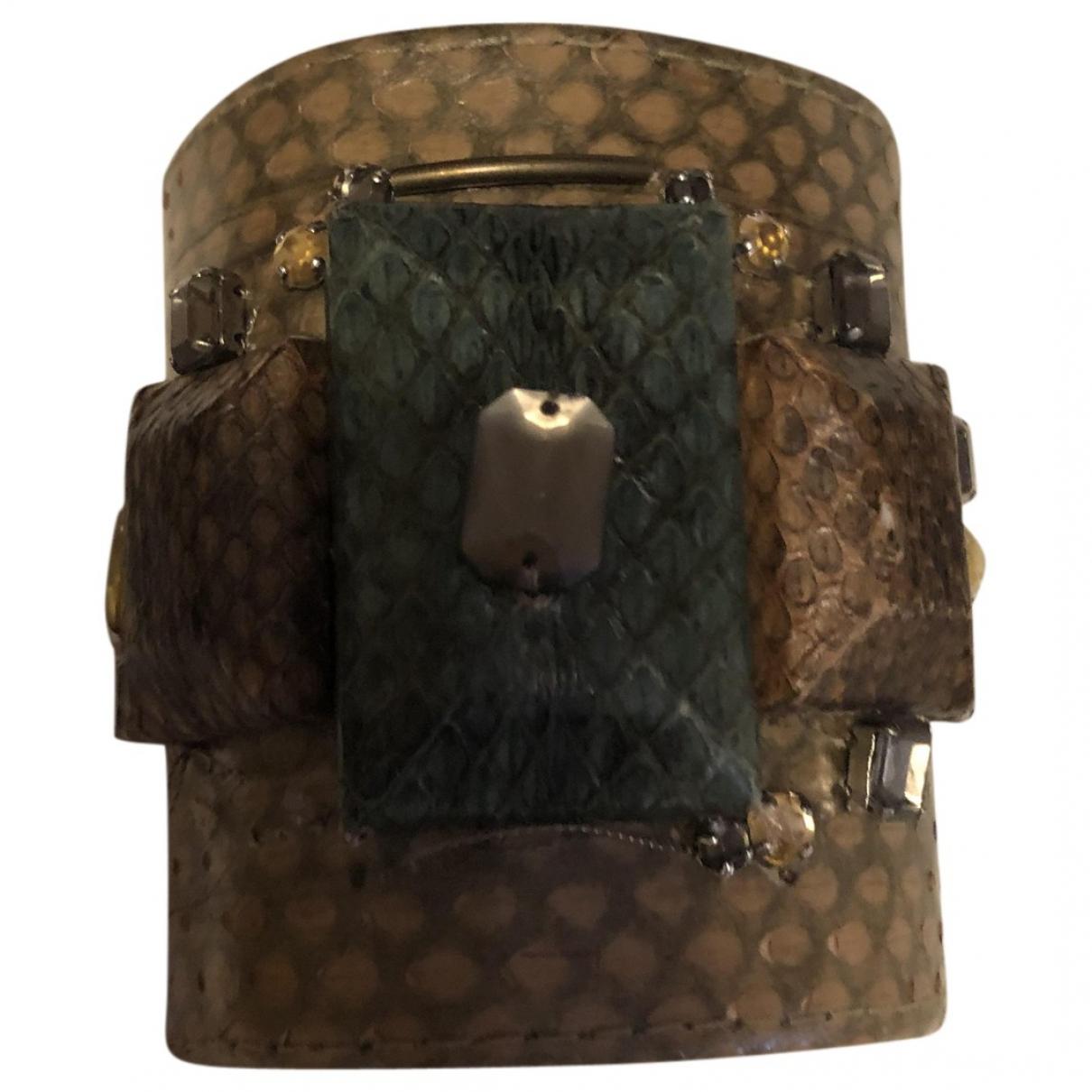 Maliparmi - Bracelet   pour femme en cuir exotique - beige