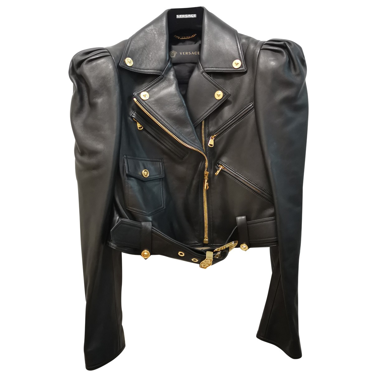 Versace N Black Leather Leather jacket for Women 38 FR