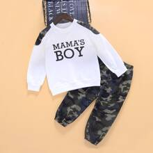 Toddler Boys Letter Graphic Sweatshirt With Camo Sweatpants