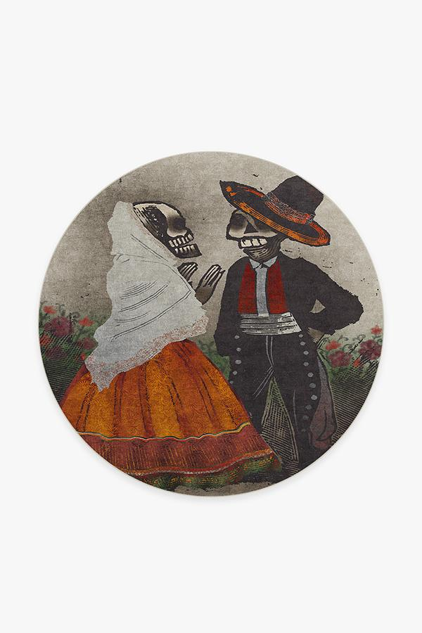 Washable Rug Cover | Jose Posada Feast of the Dead Rug | Stain-Resistant | Ruggable | 6' Round