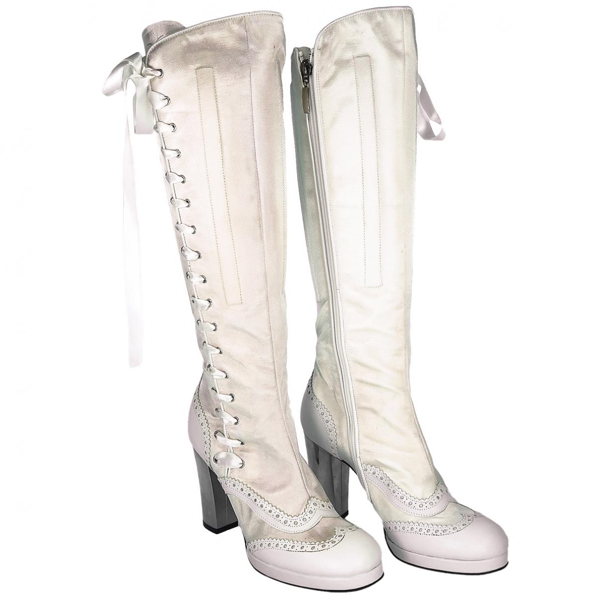 Biography \N Ecru Leather Boots for Women 36 EU