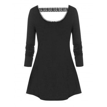 Plus Size Basic Cutout Swing T Shirt