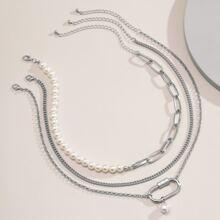 3pcs Faux Pearl Decor Necklace