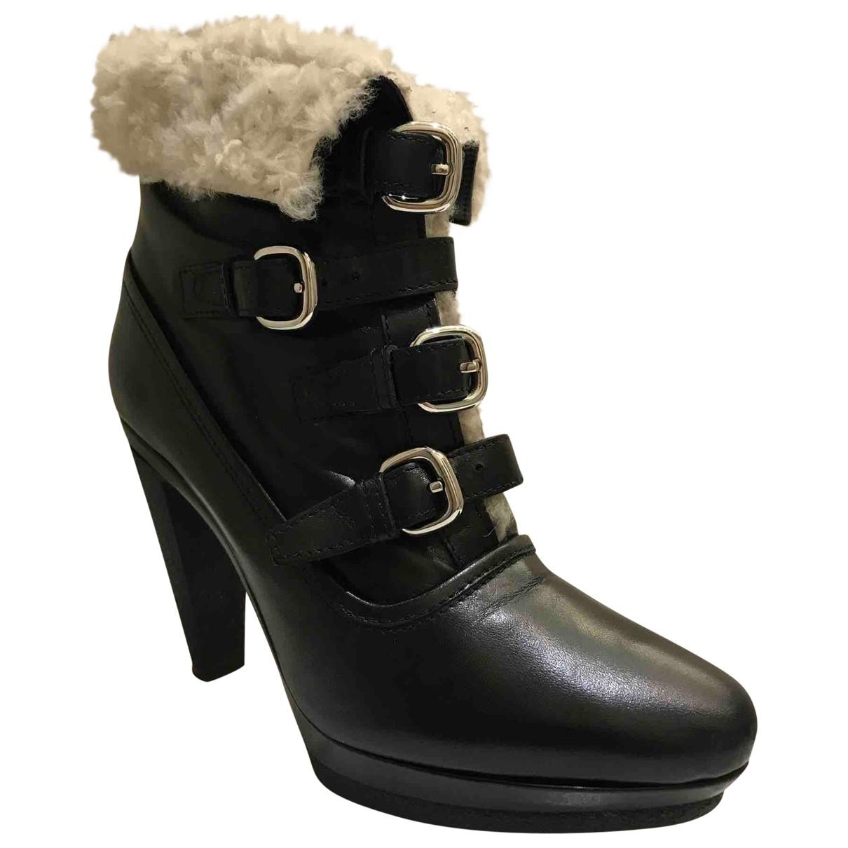 Karen Millen \N Stiefel in  Schwarz Leder
