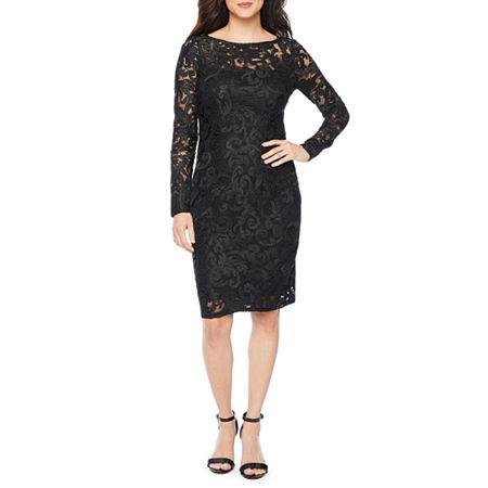 Blu Sage Long Sleeve Lace Sheath Dress, 8 , Black