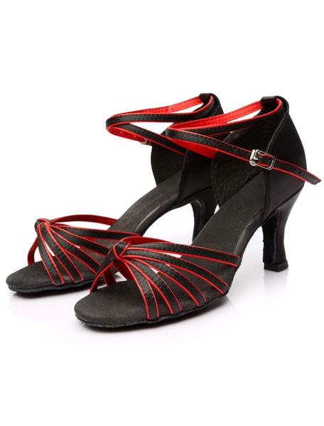 Milanoo Zapatos de salon de saten color marron oscuro para las mujeres