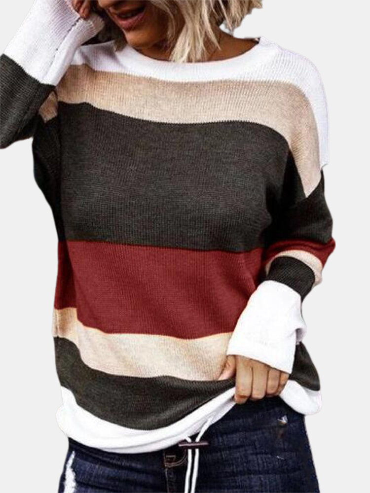 Contrast Color Long Sleeve O-neck Sweater For Women