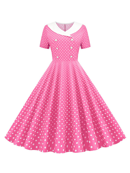 Milanoo Vintage Dress 1950s V-Neck Pleated Layered Short Sleeves Woman\'s Knee Length Polka Dot Swing Dress