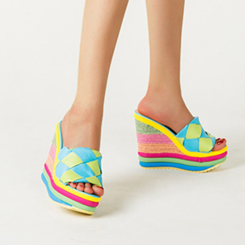 Ericdress Candy Color Slip-On Wedge Heel Color Block Slippers