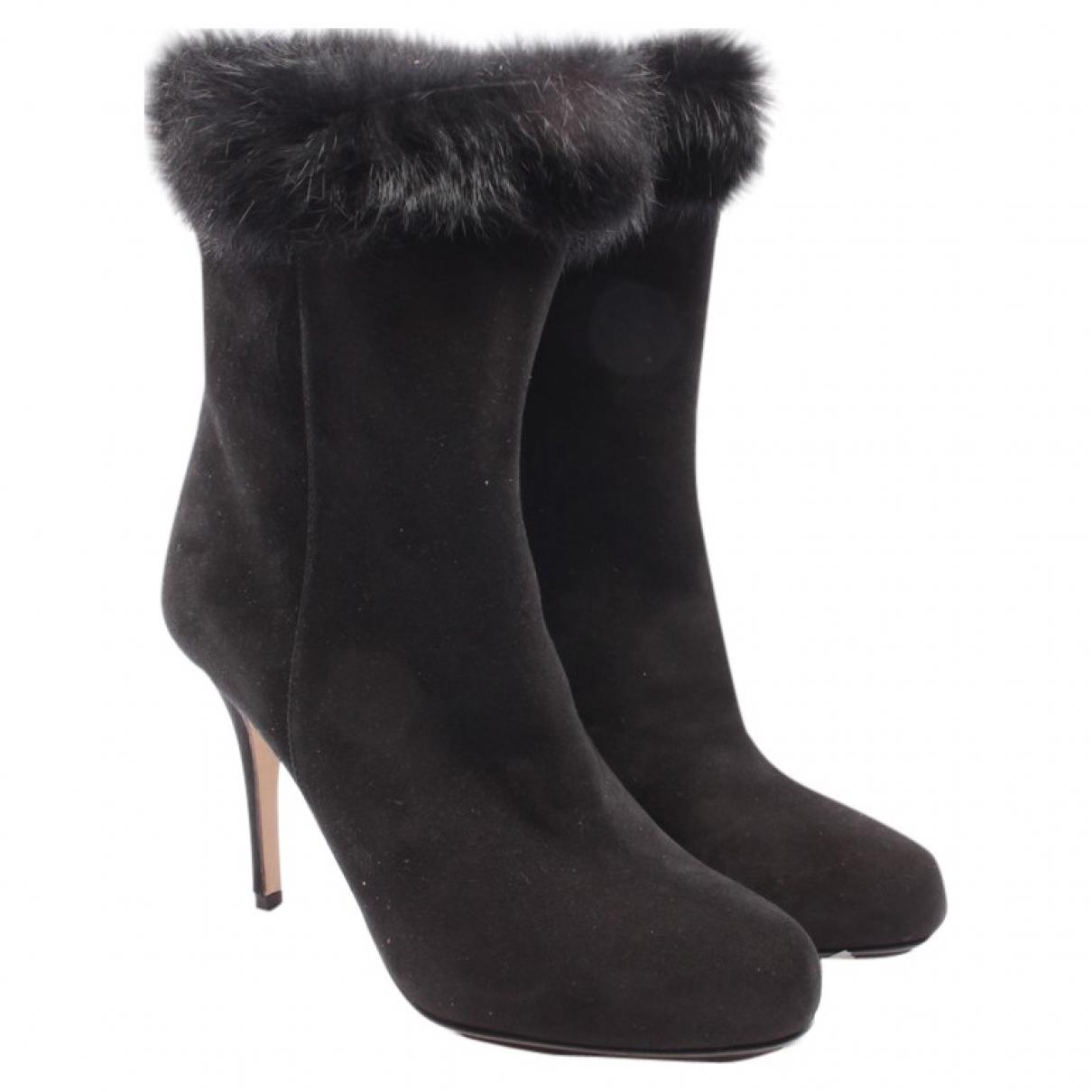 Hugo Boss - Boots   pour femme en cuir - noir