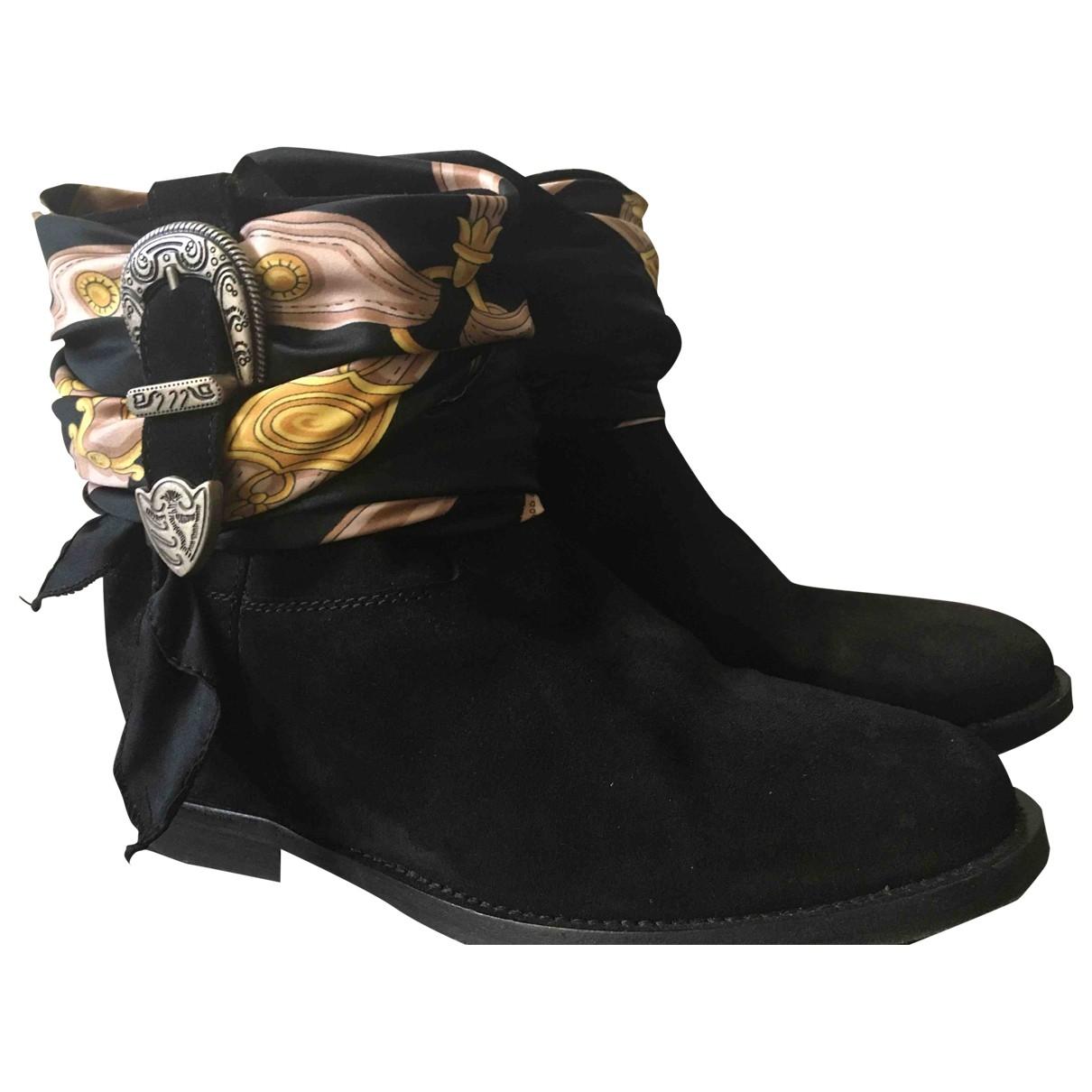 Via Roma Xv - Boots   pour femme en suede - noir