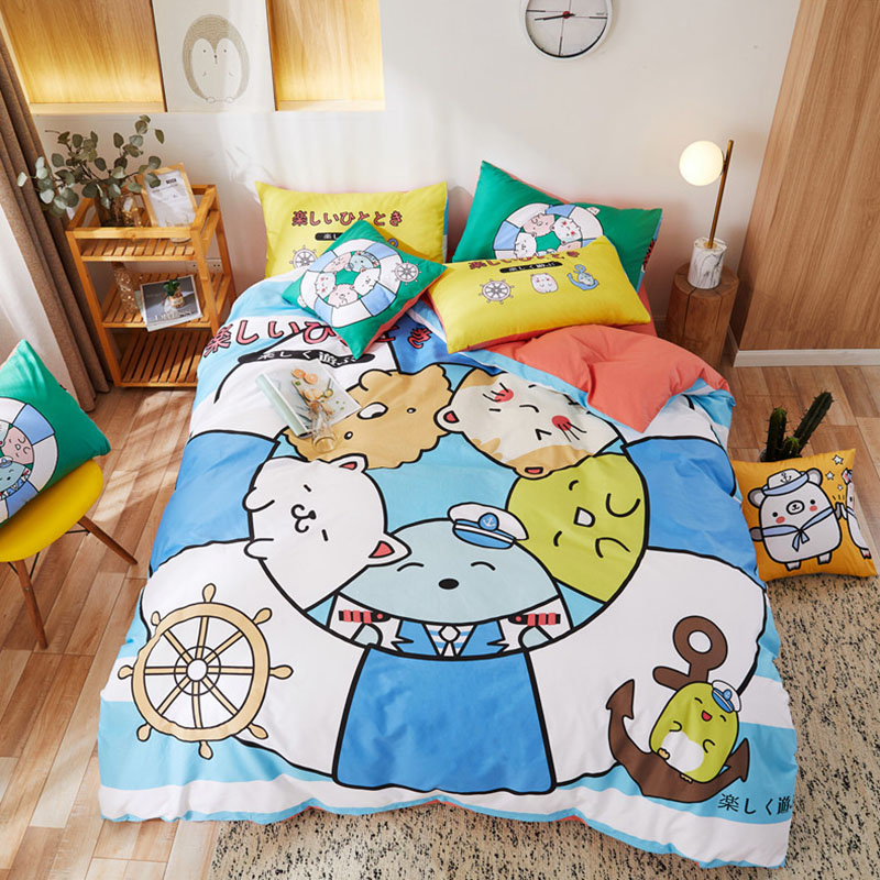 Cartoon Cotton Girls Bedding Sets Twin/Full Size Durable Breathable Duvet Cover Set