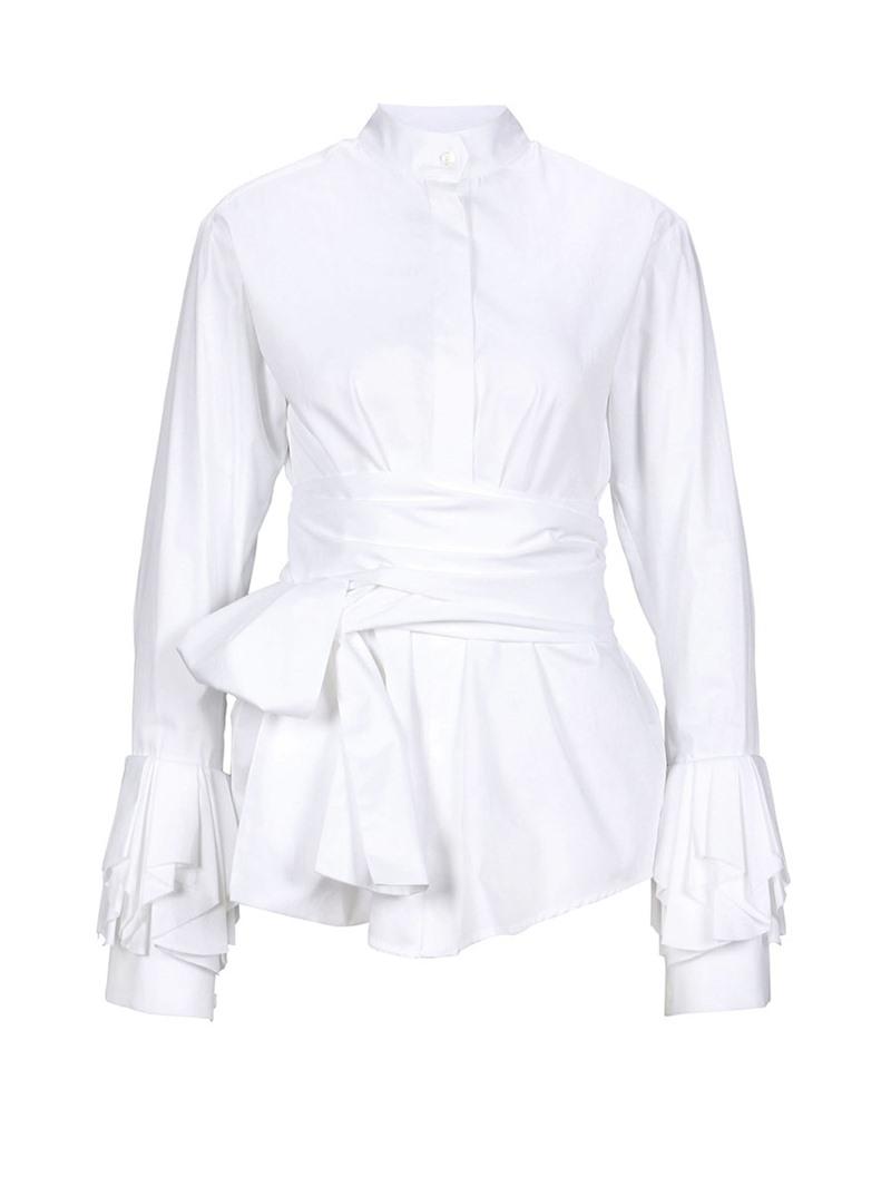 Ericdress Plain Slim Lace-Up Lantern Sleeve Shirt