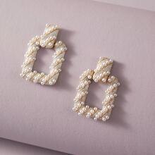1pair Faux Pearl Decor Geometric Drop Earrings