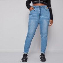 Schmale Jeans mit hoher Taille und Waschung