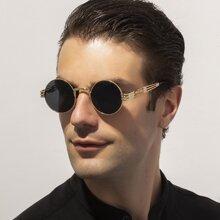 Maenner Jungen Sonnenbrille mit rundem Metall Rahmen