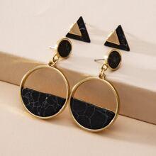 2 Paare Ohrringe mit rundem Dekor