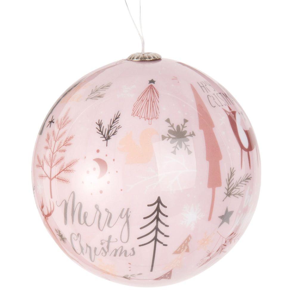 Weihnachtskugel aus Papier mit Landschafts-Druckmotiv
