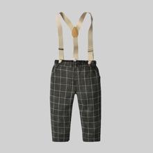 Pantalones para niño pequeño Bolsillo A cuadros Preppy