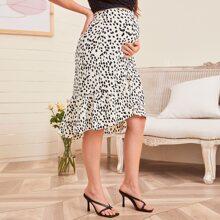 Maternidad falda cruzada bajo con fruncido con estampado de lunares