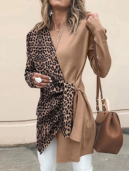 YOINS Camel Crossed Front Design Leopard V-neck Long Sleeves Coat