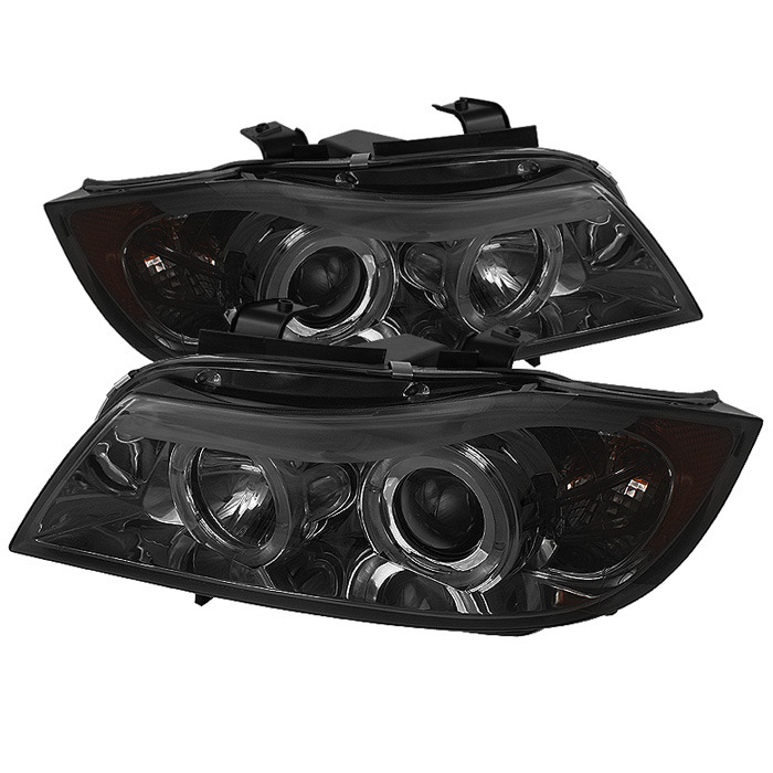 Spyder Auto PRO-YD-BMWE9005-AM-SM Smoke LED Halo Projector Headlights with High H1 and Low H7 Lights Included BMW E90 335i xDrive 4dr 2008