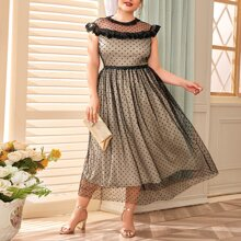 Plus Lace Ruffle Trim Polka Dot Flocked Mesh Dress