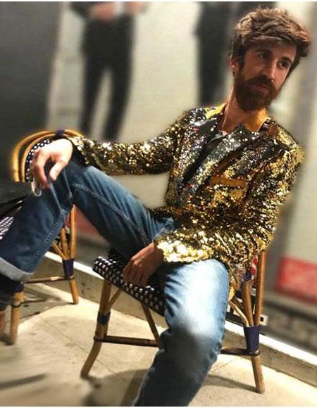 Mens 1 Button Reversible Gold & Silver Sequin Blazer