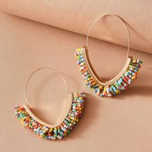 1pair Beaded Tassel Earrings