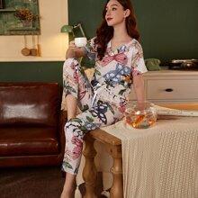 Schlafanzug Set mit V-Kragen und Schmetterling Muster