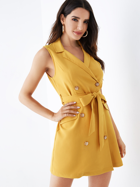 YOINS Yellow Notch Collar Double Breasted Design Dress