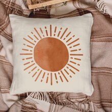 1pc Sun Print Cushion Cover Without Filler