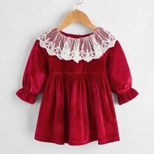 Baby Girl Contrast Lace Velvet Dress