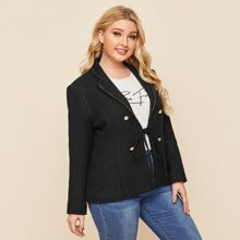 Plus Double Breasted Tie Front Tweed Blazer
